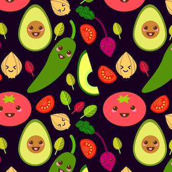 Funny vector vegetables seamless pattern  in flat style
