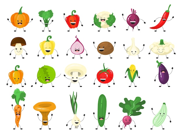 Funny vegetable character set. group of happy cucumber