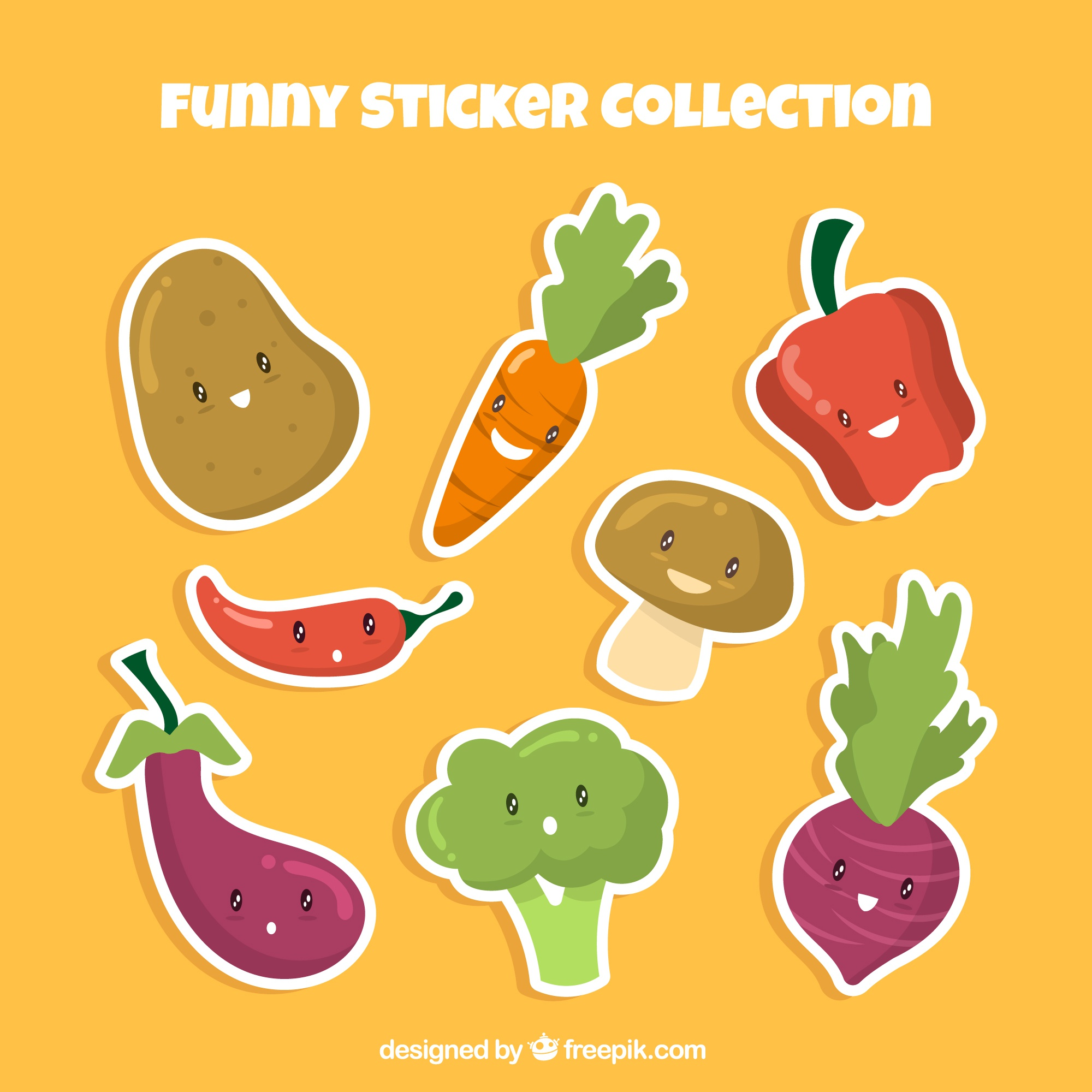 Funny vegetables stickers