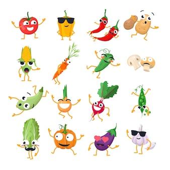 재미 있는 야채-벡터 격리 만화 이모티콘입니다. 멋진 캐릭터가 있는 귀여운 이모티콘 세트. 흰색 바탕에 화나고, 놀라고, 행복하고, 쾌활하고, 미치고, 웃고, 슬픈 음식 모음