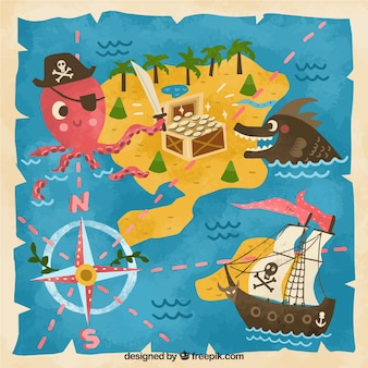 Funny vintage treasure map background