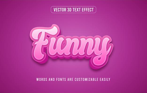 Забавный фиолетовый эффект стиля редактируемого текста 3d