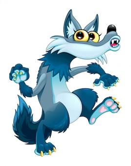 Funny walking wolf