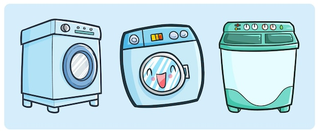 シンプルな落書きスタイルの面白い洗濯機コレクション