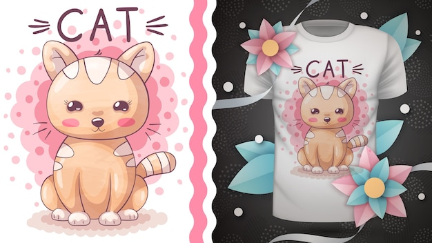 Забавная идея акварельного котенка для печати
