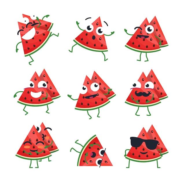 재미 있는 수 박-벡터 격리 만화 이모티콘입니다. 멋진 캐릭터가 있는 귀여운 이모티콘 세트. 흰색 바탕에 화나고, 놀라고, 행복하고, 쾌활하고, 아프고, 미쳤고, 웃고, 슬픈 과일 모음