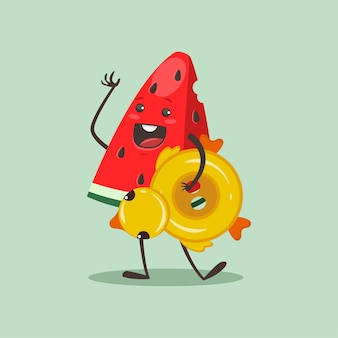 Funny watermelon with inflatable rubber ring in duck form. cartoon fruit character