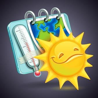 太陽と温度計と面白い天気アイコン