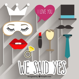 Funny wedding photo booth elements