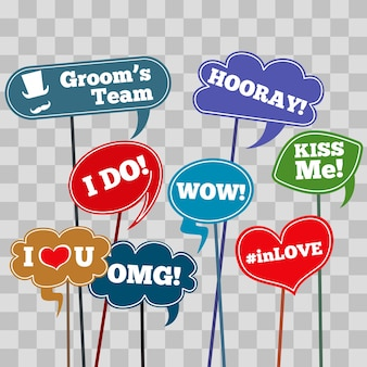 Funny weddings phrases in banner isolated