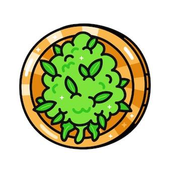 재미있는 잡초 마리화나 새싹 동전. 벡터 손으로 그린 만화 귀여운 캐릭터 그림입니다. 흰색 배경에 고립. 대마초, 대마초, 마리화나 동전, 암호화 통화, 디지털 화폐 개념