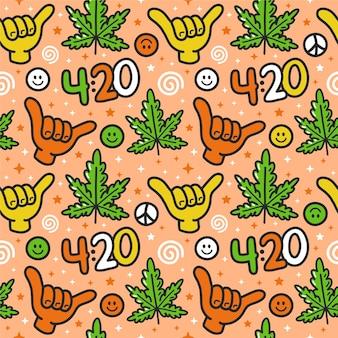 面白い雑草マリファナ、シャカジェスチャー、420シームレスパターン