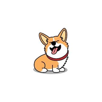 Funny welsh corgi dog sitting and smiling cartoon