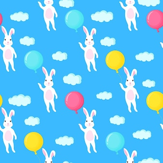 Funny white bunny with a balloon. rabbit and clouds seamless pattern.