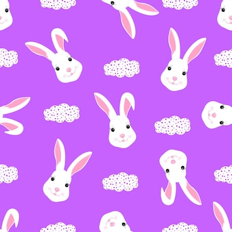Funny white rabbit baby background for design clothes, nursery. cute bunny seamless pattern.