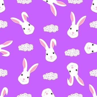 디자인 옷, 보육에 대한 재미있는 흰 토끼 아기 배경. 귀여운 토끼 완벽 한 패턴입니다.