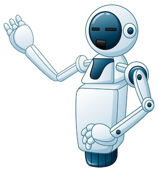 Funny white robot one hand up