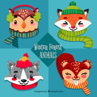 Funny winter forest animals set