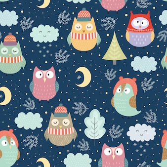 Funny winter owls at night seamless pattern for christmas