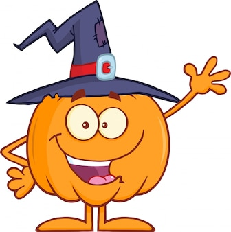 Funny witch pumpkin cartoon character waving
