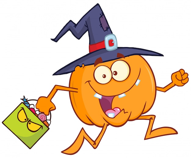 Funny witch pumpkin cartoon character