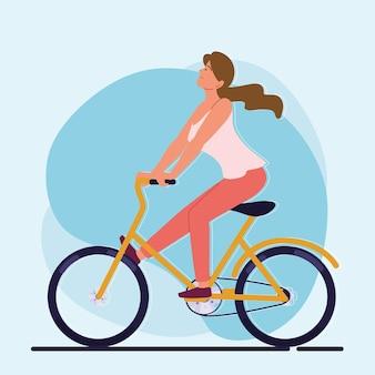재미있는 여자 승마 자전거
