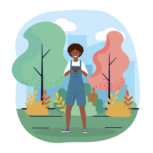 Funny woman with smartphone technology and trees