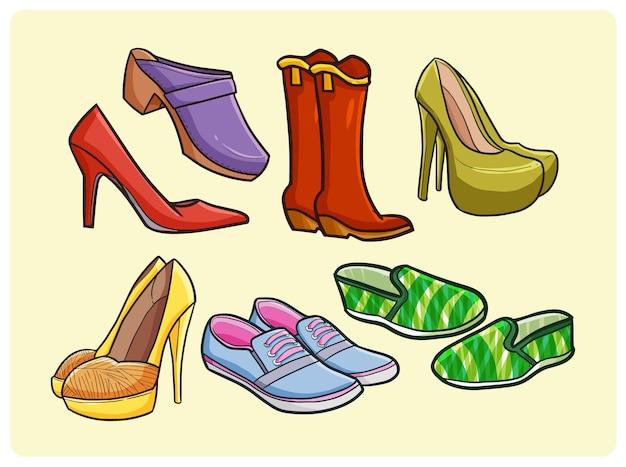 Коллекция смешной женской обуви в простом стиле каракули