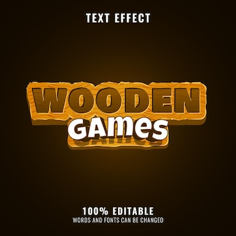 Funny wooden games fantasy game logo title text effect
