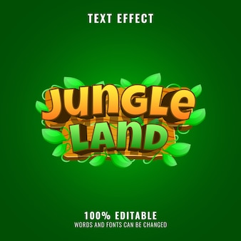 Funny wooden jungle land game logo title text effect