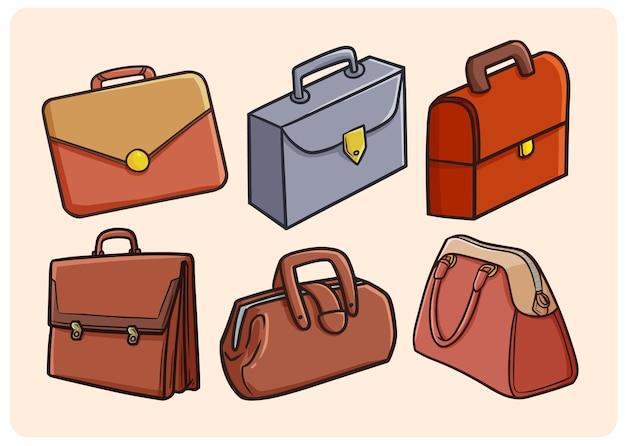 간단한 낙서 스타일의 재미있는 작업 가방 컬렉션