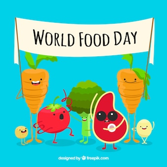 Funny world food day background