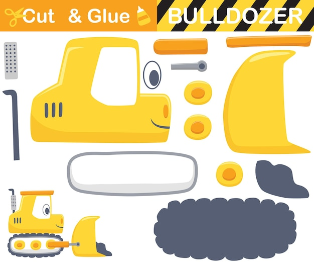 Funny yellow bulldozer. education paper game for children. cutout and gluing.   cartoon illustration