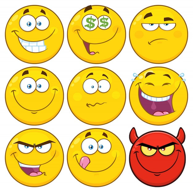 Funny yellow cartoon emoji face series character set