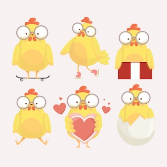 Funny yellow chickens in different poses