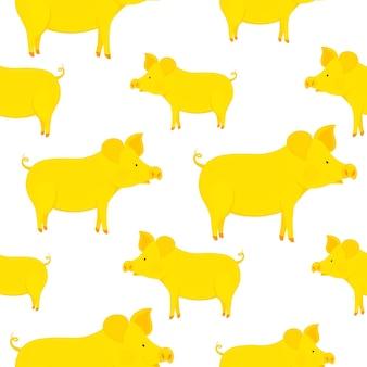 Смешные желтые свиньи бесшовные модели. символ китайского нового года