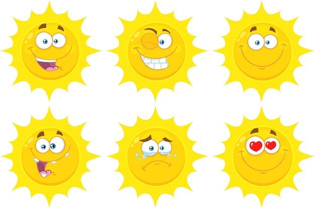 재미 있은 노란 태양 만화 이모티콘 얼굴 시리즈 문자 집합 플랫 컬렉션 흰색 절연