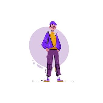 Забавная иллюстрация мальчика молодежи