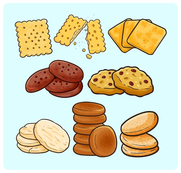 Funny and yummy cookies collection in simple doodle style