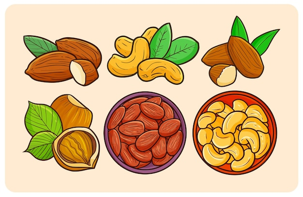 Funny and yummy nuts collection in simple doodle style