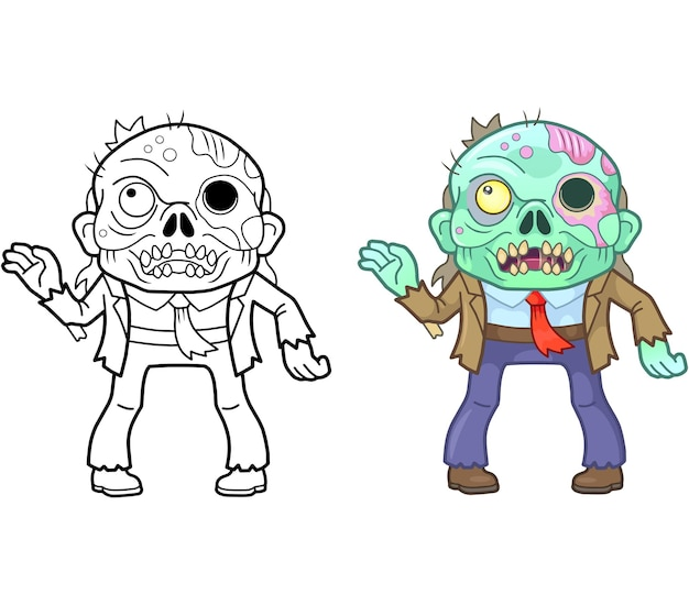 Funny zombie colouring illustration