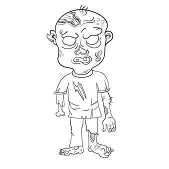 Funny zombie. page for coloring book. vector illustration isolated on a white background