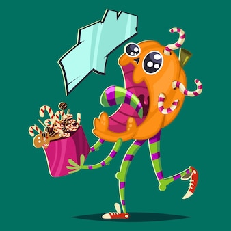Funny zombie pumpkin with candy. vector halloween illustration with cartoon vegetable character.