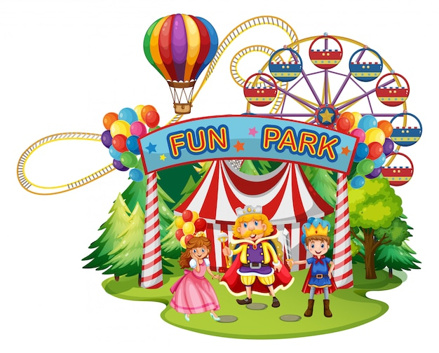 Funpark with people in costumes
