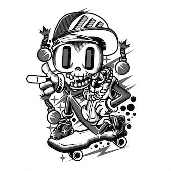 Funy black and white illustration