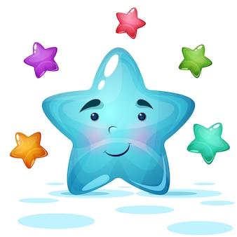 Funy, cute blue star illustration.