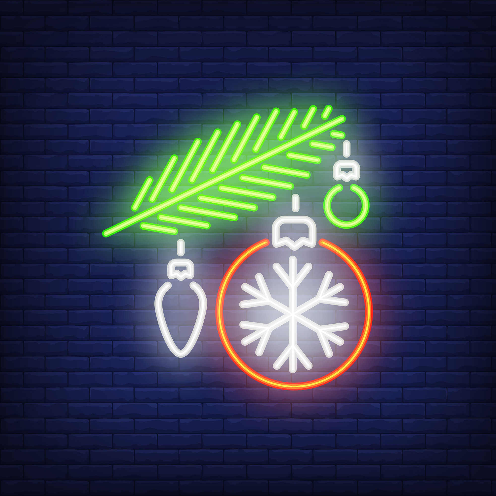 Fur branch with baubles. Neon sign element. Christmas concept