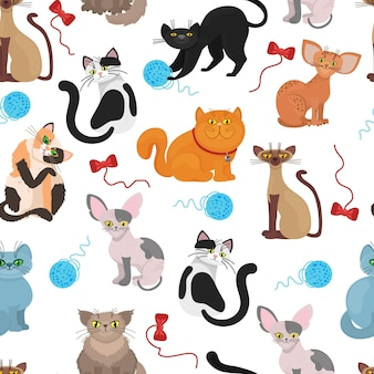 Fur cats pattern background. color cat with tangle of threads. illustration of domestic playful cat