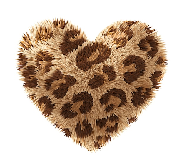 Fur heart isolated on white background Premium Vector