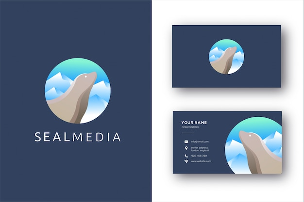 Fur seal logo and business card template